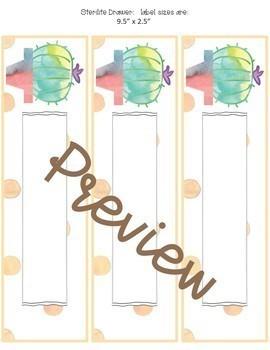 Classroom Decor Cactus in Dots- Editable Sterilite Drawer Labels