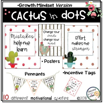 Classroom Decor Cactus in Dots- Growth Mindset Posters, Pennants, & Brag Tags