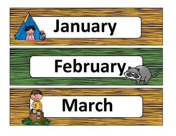 Classroom Decor Camping Theme Calendar Set and ABC Wall Chart