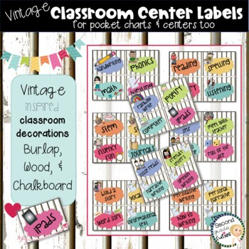 Classroom Decor Center Labels & More  Burlap & Vintage Wood