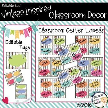 Classroom Vintage Decor Center Labels & More