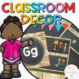 Classroom Decor Editable {Chalkboard and Rustic Wood Theme}
