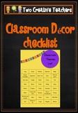 Classroom Decor Checklist