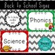 Classroom Decor Chevron Schedule Signs for Back to School
