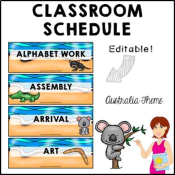 AUSTRALIA Classroom Decor Class Schedule