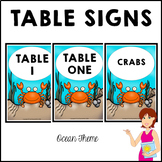 Classroom Decor Table Signs OCEAN