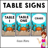 OCEAN Classroom Decor Table Signs