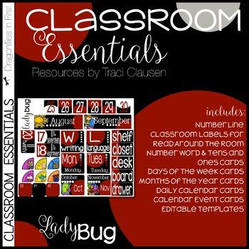 Classroom Decor - Classroom Essentials - Labels, Calendar, Focus Wall - Ladybug