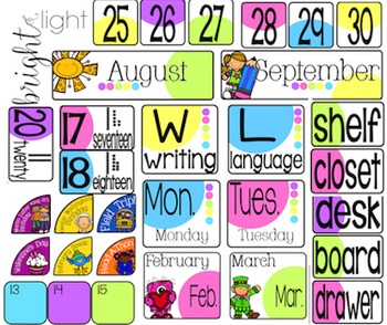 Classroom Decor - Classroom Essentials - Labels, Calendar, Focus Wall - Light