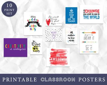 Classroom Decor - Classroom Wall Art, Inspirational Quotes - Set of 10