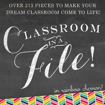 Classroom Decor - Classroom in a File: 213 Piece Rainbow Classroom Decorations