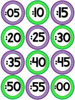 Classroom Decor Clock Labels - Purple and Green Chevron!