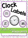 Classroom Decor Clock Labels - Purple and Green Polka Dots!