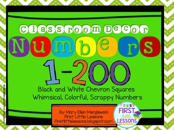 Classroom Decor: Colorful Scrappy Numbers In Chevron Boxes