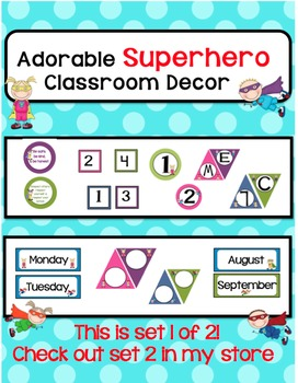 Classroom Decor-Colorful SuperHero Theme!Set 1 of 2-Check out the other set too!