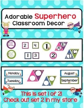 Classroom Decor-Colorful SuperHero Theme!Set 1 of 2-Check