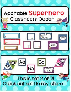 Classroom Decor-Colorful SuperHero Theme!Set 2 of 2-Check out the other set too!