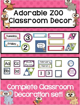 Classroom Decor - Colorful ZOO Theme - Complete with Everything!