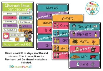 Classroom Decor Daily Calendar and Schedule Cards Spots and Melonheadz