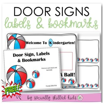 Classroom Decor For K-2nd {Door Sign, Name Tags/Labels, Bookmarks}