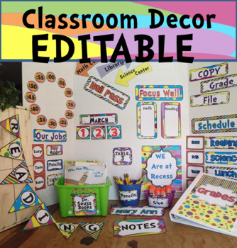 Classroom Decor Editable Whimsical Back to School / Colors