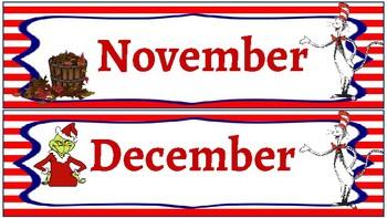 Classroom Decor- Dr. Suess Calendar Set