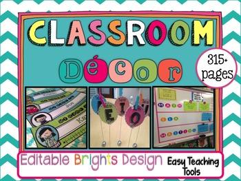 Classroom Decor: EDITABLE Brights Design {pink, turquoise,