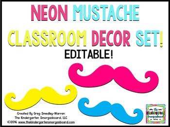 Classroom Decor:  EDITABLE NEON MUSTACHE Theme Decorations!