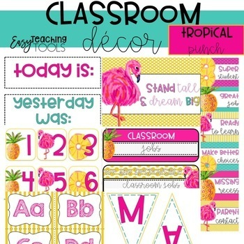 Tropical Classroom Decor {editable pineapple and flamingo}