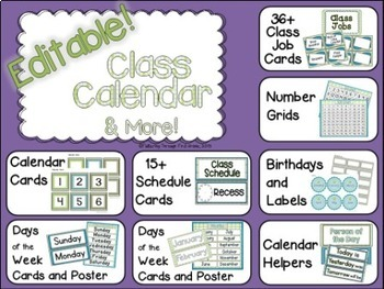 Classroom Decor Editable ~ Blue and Green Patterns