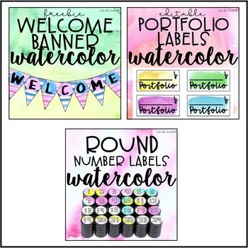 Classroom Decor Editable Watercolor Theme
