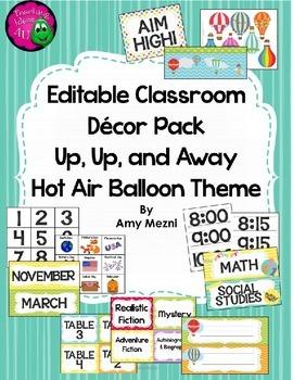 Classroom Decor Editable Hot Air Balloon Theme Bright Colors