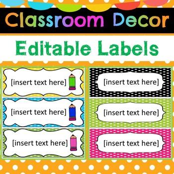 Classroom Decor Editable Labels Polka Dot Theme
