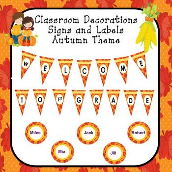 Classroom Decor Editable Signs and Labels Autumn Theme