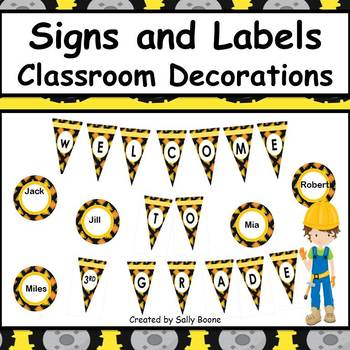 Classroom Decor Editable Signs and Labels Construction Theme