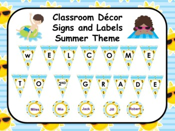 Classroom Decor Editable Signs and Labels Summer Theme
