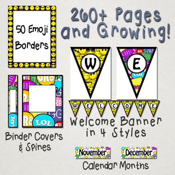 Classroom Decor Emoji Theme Back-To-School[ Editable ]