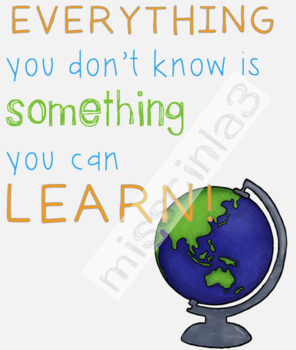 Classroom Decor - Everything you don't know is something you can learn