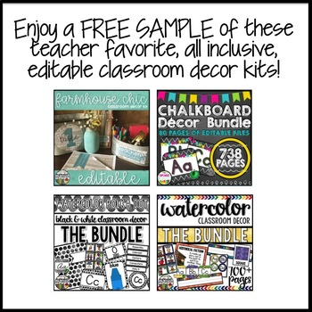Classroom Decor FREE SAMPLE