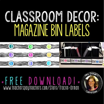 Classroom Decor: Free Magazine Bin Number Labels