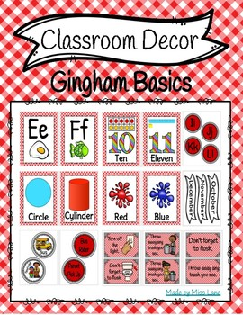 Classroom Decor: Gingham Basics