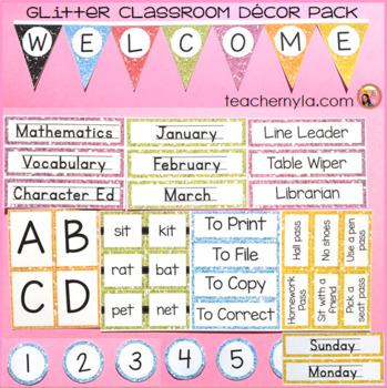 Classroom Decor Glitter Border Editable Labels