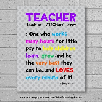 Definition of a Teacher Poster, End of the Year Appreciation Gift  8x10 or 16x20