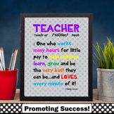 Back to School Teacher Appreciation Gift, Printable Poster 8x10 or 16x20
