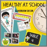 Classroom Decor | Healthy at School COVID19 PRELABELED & EDITABLE