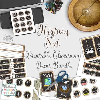 Classroom Decor- History Nut (Vintage Maps)