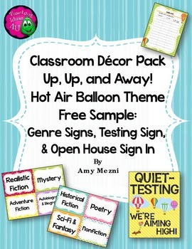 Classroom Decor Hot Air Balloon Theme FREE SAMPLE Genre & Testing Signs+