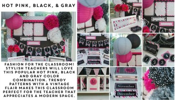 Classroom Decor Hot Pink & Black - Full Collection Bundle