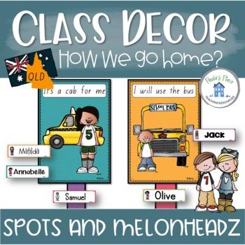 Classroom Decor - How do you go home? (QLD Font)