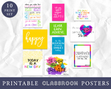 Classroom Decor, Inspirational Art Prints, Classroom Art, Set of 10 Wall Art